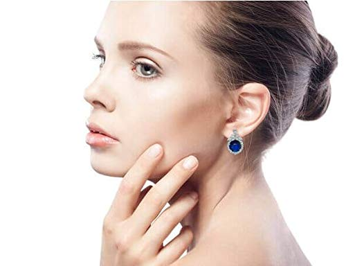 Blue Simulated Sapphire CZ Omega Clip Earrings Rhodium Plated Brass by Bling Jewelry (Image #4)