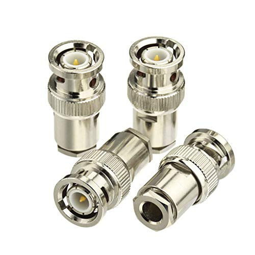 Bingfu BNC Male Clamp Solder Attachment 50 Ohm Copper Coaxial Connector (4-Pack) Compatible with RG58 RG55 RG141 RG142 RG223 RG400 RG303 Low Loss 195 Coaxial Cable ()