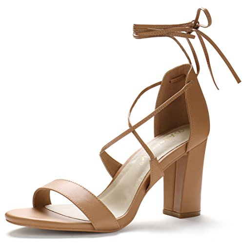 Up Lace Wrap Lace (Allegra K Women Open Toe Ankle Strap Lace up Chunky High Heels Brown Sandals - 8.5 M US)