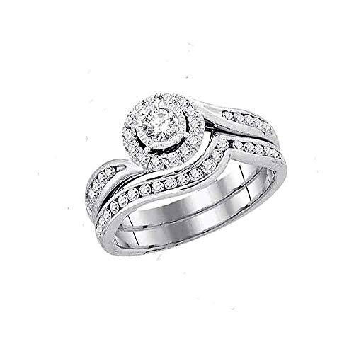 Diamond Swirl Engagement Ring + Wedding Band Bridal Set 3/4ct 14k White Gold ()