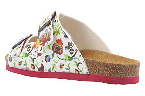 DR. BRINKMANN - Damen Pantoletten - Weiß/Rot Schuhe in Übergrößen Weiß