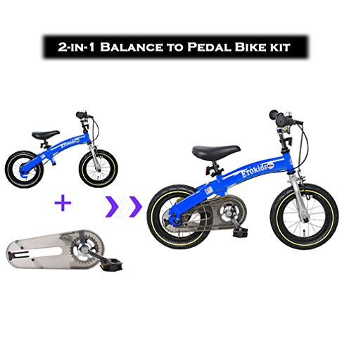 DalosDream - 12X 2-in-1 Balance to Pedal Bike Kit- Balance Bike Set with Steel Frame, Adjustable Handlebar and Seat Ages 3-7 Years (12X, Blue)]()