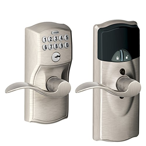 Schlage Camelot Satin Nickel Universal-Handed Electronic Entry Door Lever (Works with Iris) Model # FE599IR CAM 619