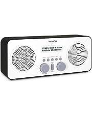 TechniSat VIOLA 2 draagbare DAB Radio (DAB+, FM-Luidspreker, Hoofdtelefoonaansluiting, 2-regelig Display, Toetsbediening, Klein, 1 W RMS) Stereo, LCD-Display, Wit/Zwart, 25,5 x 10,7 x 8 cm