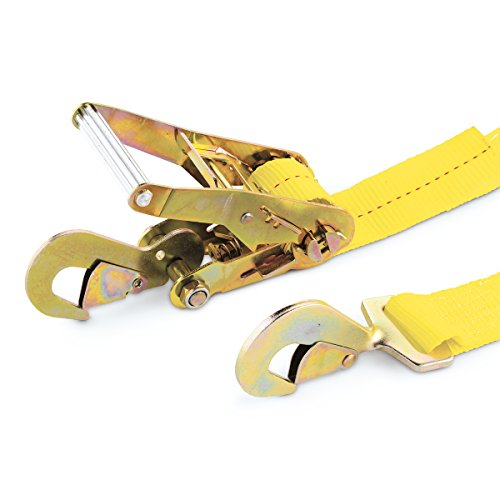 net Ratchet Straps, Yellow (1pk) – 10,000 lbs Break Strength, 3,333 lbs Safe Work Load – Safely Secure your Vehicle Without Adding Unnecessary Stress, Made of Strong, Flexible and High Visibility Yellow Webbing ()