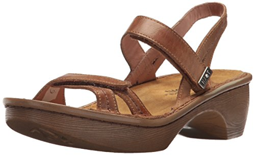 NAOT Women's Brussels Wedge Sandal, Vintage Camel Wood Sole, 36 Medium EU (5 US)