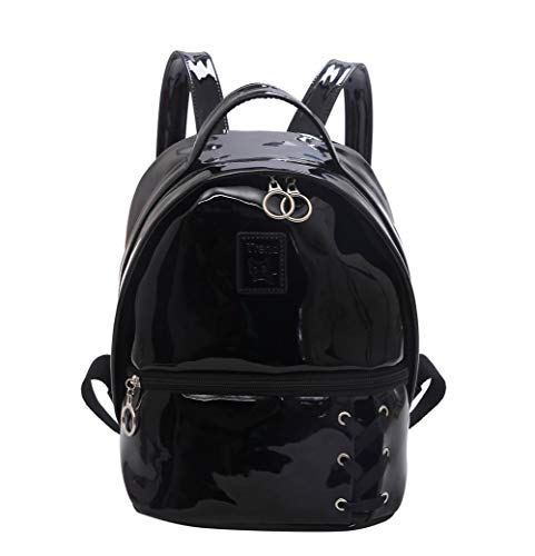 - Mini Backpack Purse Women Patent Leather Teen Girls School Bag Small Day Pack 10 Inch, Black