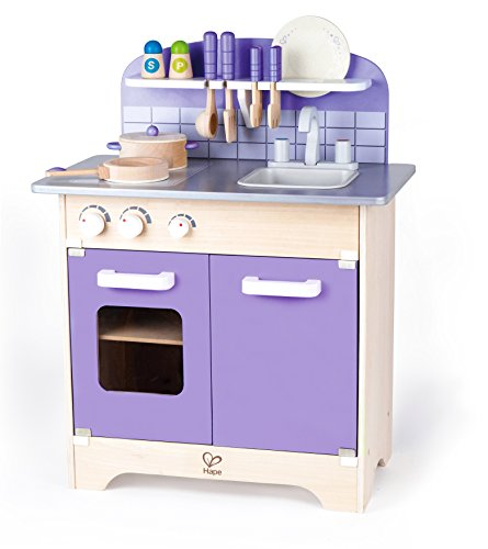 USA Toyz Hape Kitchen Playset - Exclusive Purple Wooden Play Kitchen w/ 13 Wood Kitchen Playsets Accessories for Toddler Kitchen Playset for Girls + Boys