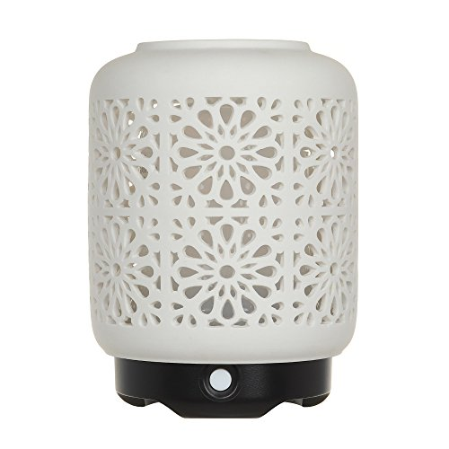 WideWise Ceramic Aroma Diffuser 120ml Essential Oil Diffuser, Ultrasonic Aroma Humidifier Cool Mist Humidifier Air Purify with Timer Waterless Auto Shut-Off and 7 Colors LED Light -