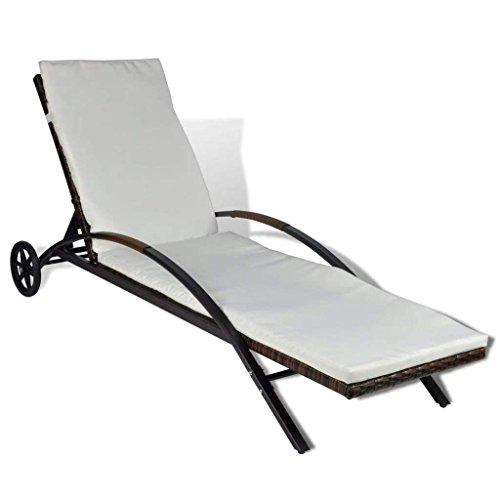 Adjustable Chaise Lounge Mobile - Best Care LLC Outdoor Wicker Chaise Lounge with Wheels & Removable Cushion Cover, Backrest Adjustment, Patio Furniture, Weather-Resistant and Waterproof PE Rattan, Multiple Colors (Brown)