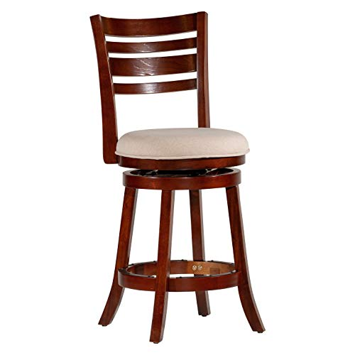 "DTY Indoor Living Granby 4-Slat Back Upholstered Swivel Stool, Cherry Finish, 24"" Counter Stool, Beige Upholstered Seat - Big Sale!! ()"