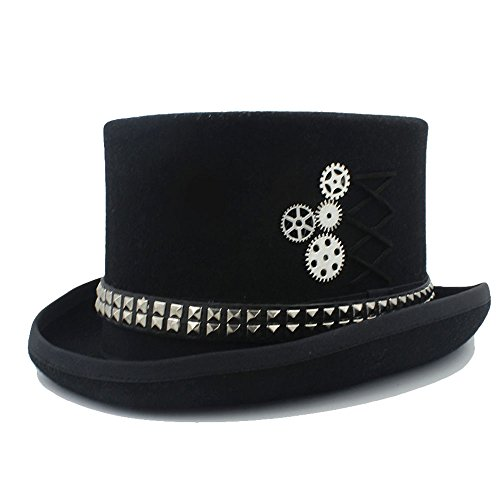 LFLING Woolen Top Hat Women Men Unisex Steampunk Hat Steam Punk Fedoras Top Hat Topper by LFLING (Image #3)