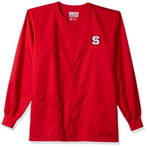 (WonderWink Unisex-Adult's North Carolina State University Snap Front Jacket, red, LG)
