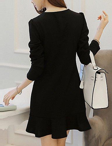 PU&PU Robe Aux femmes Patineuse Vintage / Simple,Mosaïque Col Arrondi Au dessus du genou Polyester / Spandex , black-2xl , black-2xl