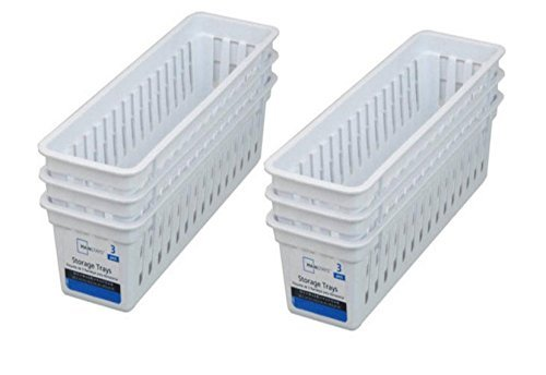 - Mainstays Slim Plastic Storage Trays Baskets in White- Set of 6