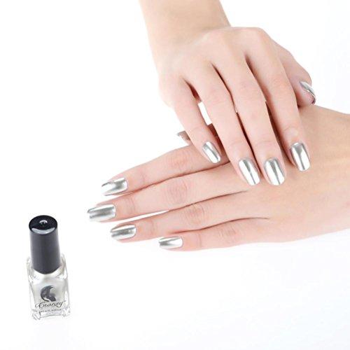 Bolayu Mirror Nail Varnish Polish Plating Silver Paste Metal Color Mirror Silver Nail Polish For Nail Art (C)