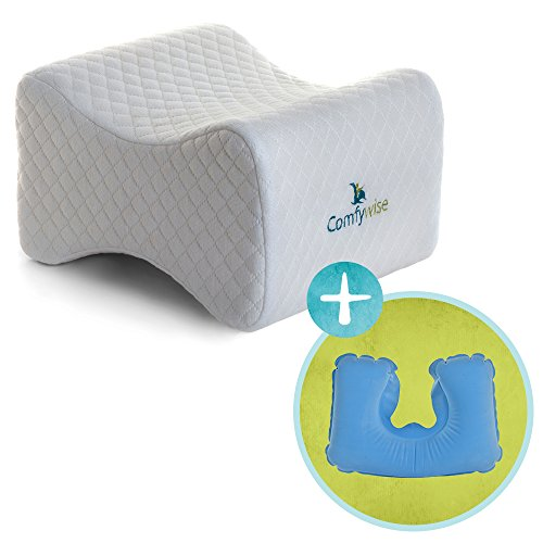 Comfywise™ White Orthopedic Knee Pillow for Side Sleepers: Memory Foam Leg Wedge for Joint and Back Pain, Sciatica Nerve, and Sleeping Relief plus More - Memory Plus Pillow