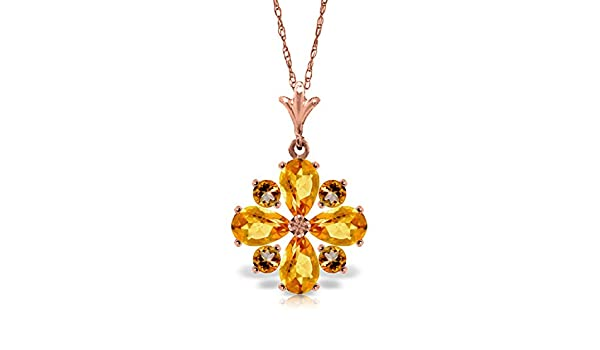 ALARRI 1.63 Carat 14K Solid Rose Gold Necklace Diamond Citrine with 24 Inch Chain Length