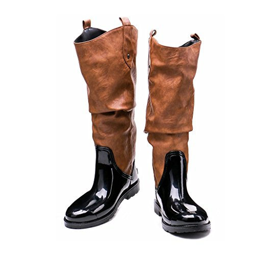 Terciopelo Lluvia Impermeables De Lado Fashion para Mujer Botas Lluvia Muck Mujer Zapatos Original De Más para Ajusta Kitzen Invierno Tamaño Wellington Tall 01qwx