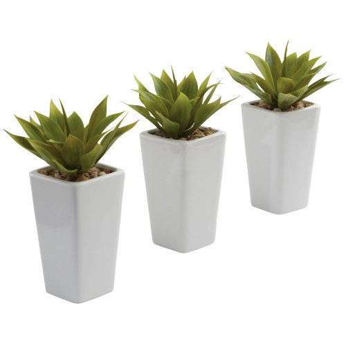 Green Planter Vase - Nearly Natural 4972-S3 Agave with Planter, Mini, White and Green, Set of 3