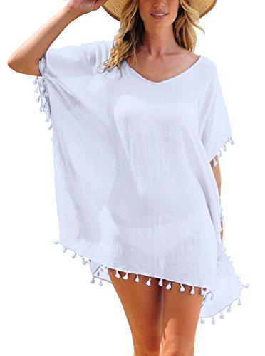 De Borla Baño Blanco Gasa Vestido Ropa Pinkmilly Las Playa Mujeres 1nEqxwp67