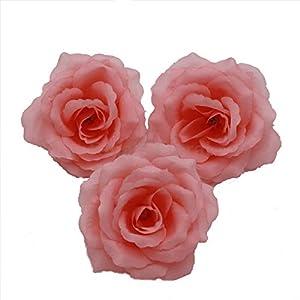 Silk Flowers Wholesale 100 Artificial Silk Rose Heads Bulk Flowers 10cm for Flower Wall Kissing Balls Wedding Supplies (Coral Pink)