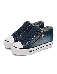 Cool Classic Zip Denim Canvas Flat Cycling Racing Shoes Sneaker navy blue