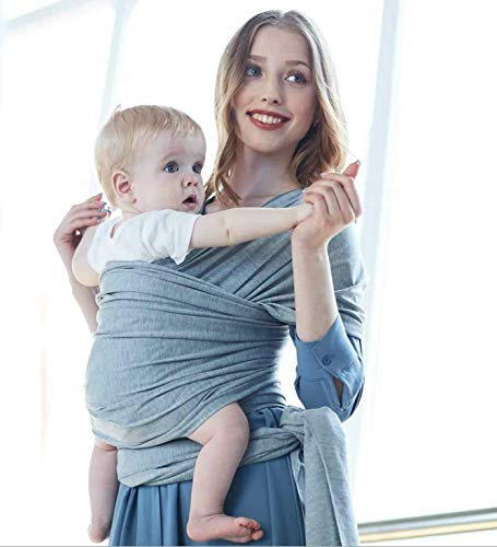 Le Monde – Baby Carrier – Premium Stretchy, Comfortable, 95 Cotton, Infant Carrier – Baby Wrap Sling- Baby Wrap Carrier with Carry Bag, Best for Mommy and Babies up to 35lbs Heather Grey