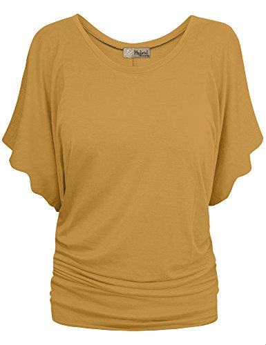 Womens Boat Neck Dolman Top Shirt KT44130X Mustard - Blended Mustard