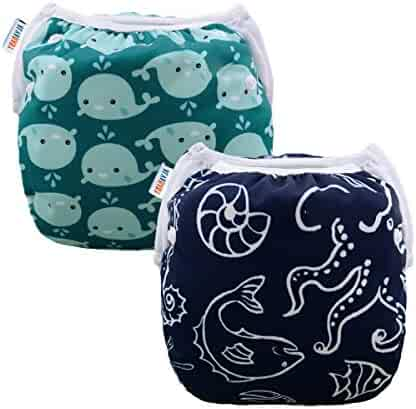 ALVABABY Swim Diapers Boys & Girls One Size Reuseable Adjustable 2pcs SW18-21