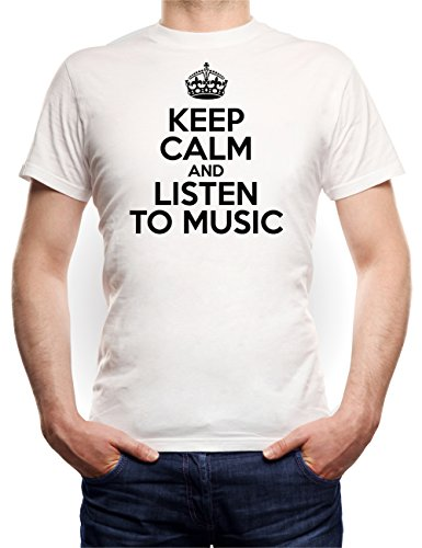 Keep Calm And Listen To Music T-Shirt White