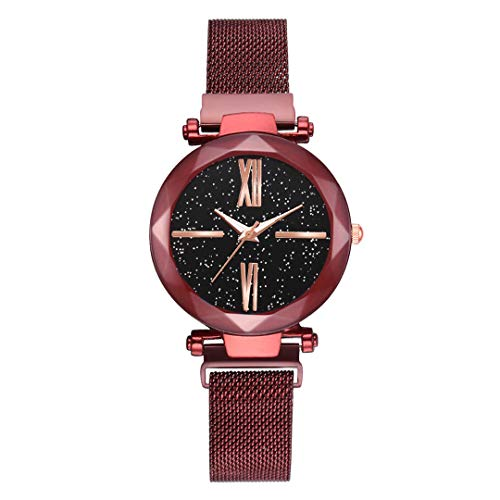 Mujer NEW Star Women Watches Personality Romantic Starry Sky Wrist Watch Rhinestone Design Ladie Red ()
