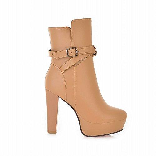 high Boots Latasa Fashion Buckle apricot heel Ankle Strap Dress Womens High Platform qpqnv8rw