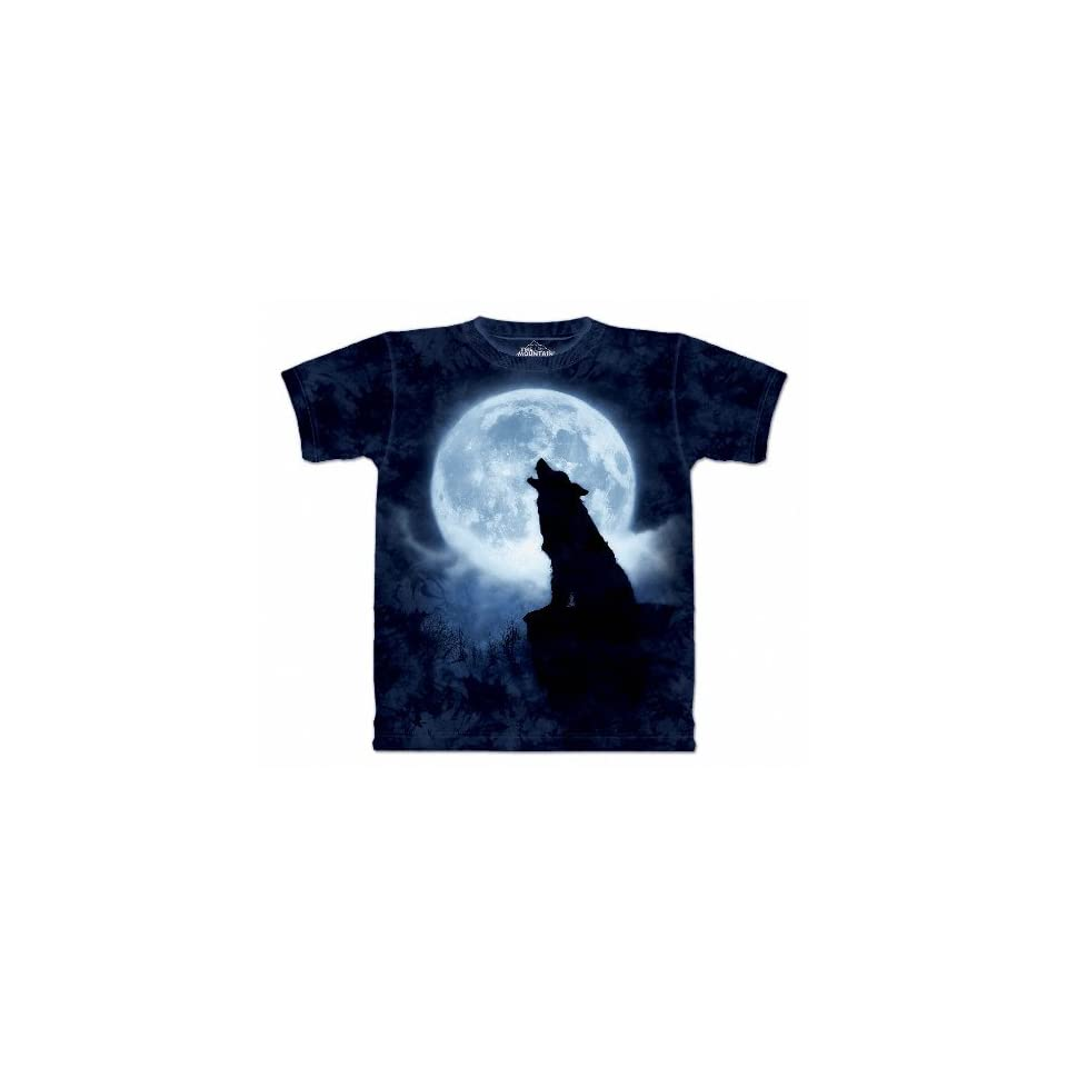 Full Moon Silhouette Wolf T Shirt 100% Cotton Short Sleeve