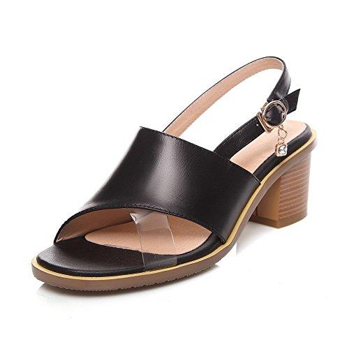 AllhqFashion Womens Buckle Kitten-Heels Cow Leather Solid Open Toe Sandals Black qbwqTbjZJP
