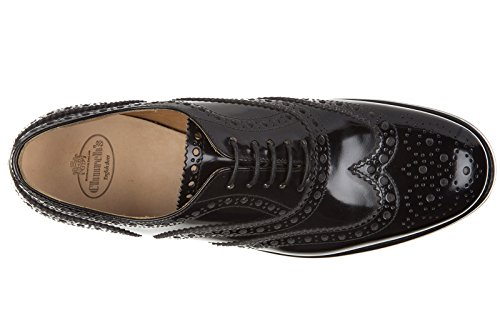 Nuove Pelle Scarpe Nero CHURCH'S Classiche Stringate Donna in Brogue wYdd61xX