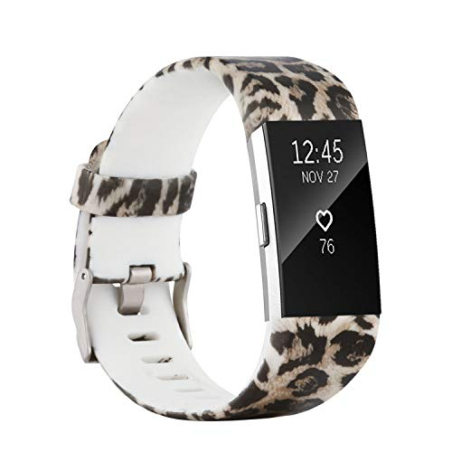 honecumi Colorful Watch Band Replacement for Fitbit Charge 2 Wrist Strap for Men & Women Quick Release Strap Band Compatible with Fitbit Charge 2 Smart Watch-Small Size -Brown Leopard - New In Leopard