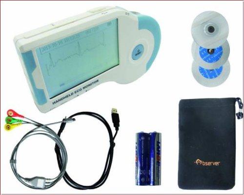 EKG Gerät mobil handheld MD100B LCD mit viel Zubehör (Elektroden/Kabel/Software)+ Garantie 1 Stück ideal für Praxen, Häusliche Krankenpflege,Pflegedienste und Med. Berufe Super Preis+Leistung