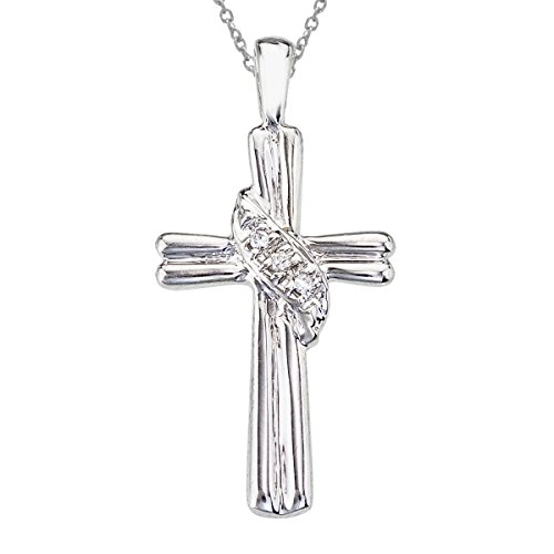 14k white gold cross with shimmering diamond accents. A beautiful and fashionable design. ()