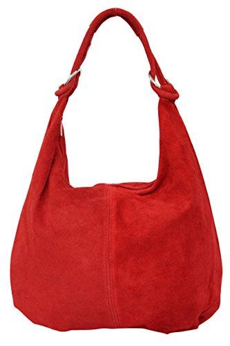 AMBRA Moda Damen Wildleder Schultertasch Damen Handtasche Hobo-Bags Shopper Beuteltaschen Veloursleder Suede Ledertasche DIN-A4 42cm x 35cmx 4cm WL803 Rot 5rnke