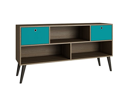 Retro Living Room Furniture - Manhattan Comfort Uppsala Series Retro Style Tabletop TV Stand with a 3 Open Shelf Design and 2 Drawers, Oak/Aqua Finish