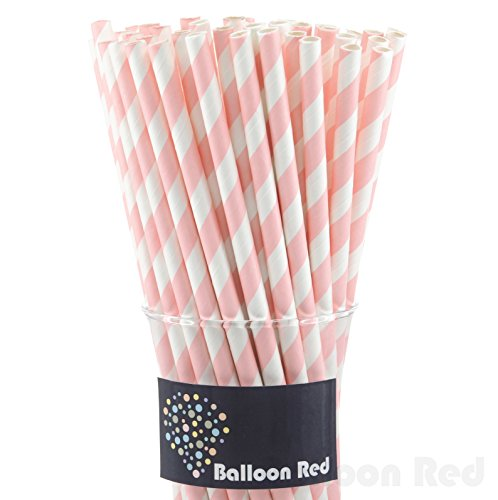 Biodegradable Paper Drinking Straws (Premium Quality), Pack of 50, Striped - Powder Pink (Halloween Activities For 4th And 5th Grade)