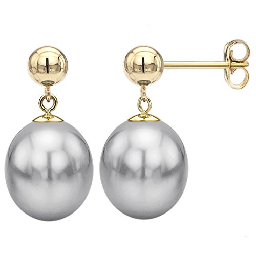 14K-Yellow-Gold-Over-Silver-Dyed-Gray-Long-Shape-Freshwater-Cultured-Pearl-Stud-Ball-Earrings