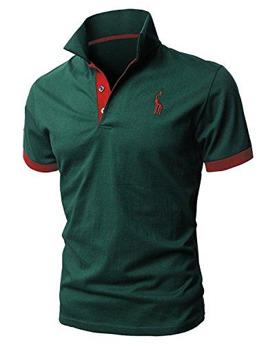 Leisure メンズ 無地 半袖 ポロシャツ カジュアル スキニー スポーツ ゴルフウェア