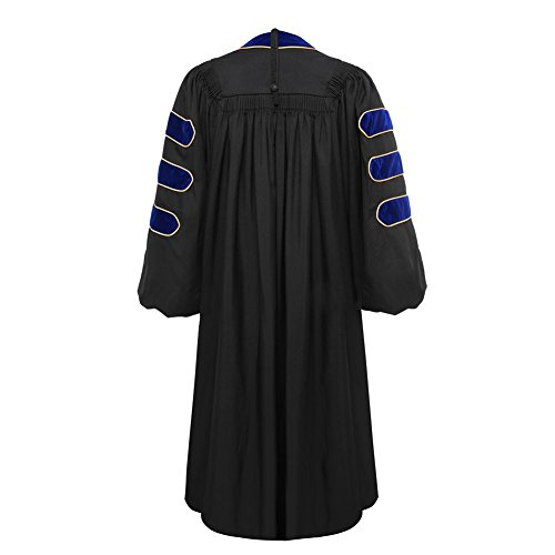 Deluxe Doctoral Graduation Gown-Royal Blue Trim Gold Piping(Royal Blue Size 54) by lescapsgown (Image #2)