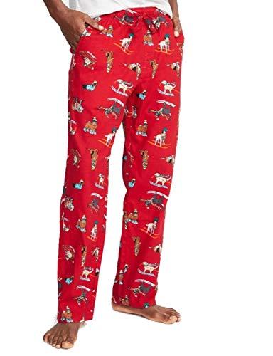 (Old Navy Patterned Flannel Sleep Pants for Men (Large, Red Ski)
