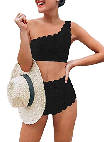 (Aleumdr Vintage High Waisted Swimsuit Two Pieces Scalloped Trim One Shoulder Bikini Bathing Suit Black Medium 8 10 )