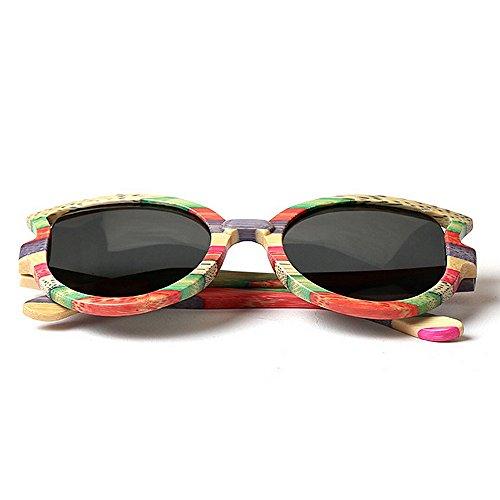 Classique les bois lunettes Soleil Femmes pour lunettes femmes de UV de De la protection Vintage polarisées cadre Haute soleil main à lunettes Miroir classe conduit chat yeux soleil Lunettes Multicolore de soleil xPPIwEOU