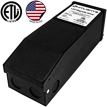 HitLights 100 Watt Dimmable Driver, Magnetic LED Driver - 110V AC-12V DC Transformer. Made in the USA. Compatible with Lutron and Leviton for LED Strip ...