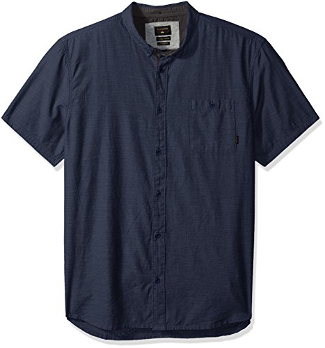 Quiksilver Men's Waterfalls Short Sleeve Button Down Shirt, Dark Denim, L by Quiksilver